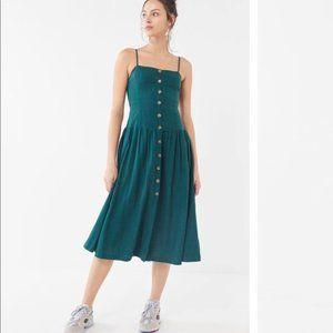 NWOT Urban Outfitters Linen Midi Dress Green